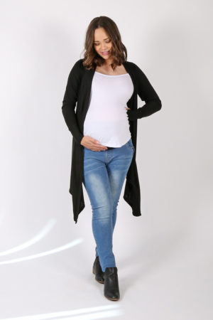 Algar Cardigan | Maternity Top | Black | Full Length Front Angled View | Maternity Wear South Africa