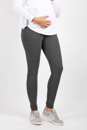 Maternity Leggings Dark Grey Front View