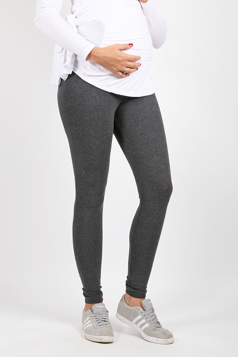 Maternity Leggings Dark Grey Front View