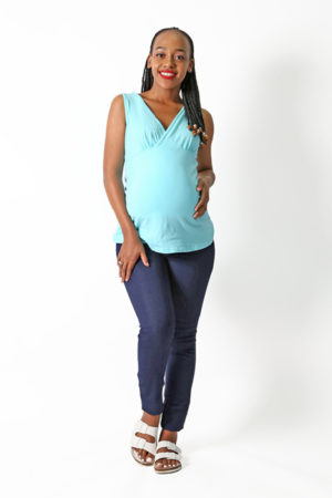 Sammy Nursing Top | Maternity Top | Aqua | Full Length Front Angled View | Maternity Wear South Africa